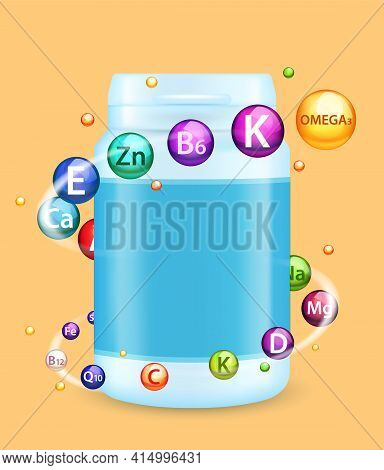 Vitamin And Mineral Complex Ad, Vector Poster, Banner Template. Multivitamin Plastic Bottle Mockup.