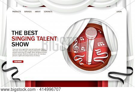 Singing Talent Show Landing Page Design, Website Banner Template. Vector Illustration In Paper Art S