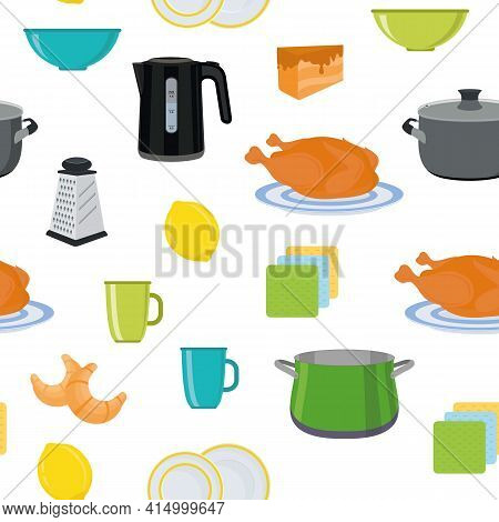 Dishes And Cutlery. Kitchen Utensils. Food And Drinks. Kitchen Textiles. Seamless Background. Vector