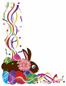 Happy Easter Day Bunny Rabbit and Colorful Eggs in Confetti Border Illustration on White Background poster