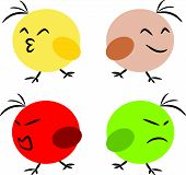 Little bird emotion feeling fun angry concept illustration poster