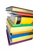 lots of Books piled isolated on white poster