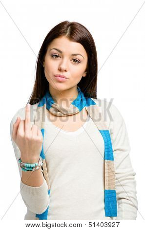 Half-length portrait of teen showing obscene gesture, isolated on white