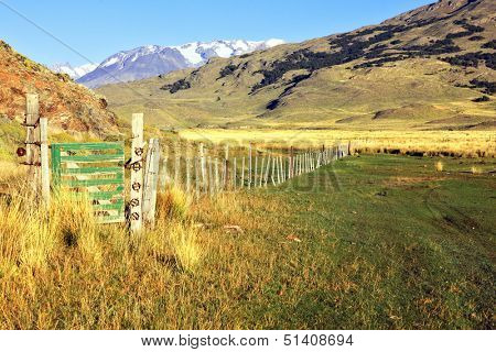 The picturesque landscape of Patagonia. Charming green valley in the National Park Perritaz Moreno in Argentina.