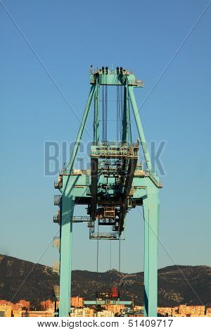 container ship in the port of algeciras, spain