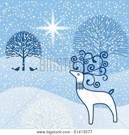 Winter wonderland north star reindeer