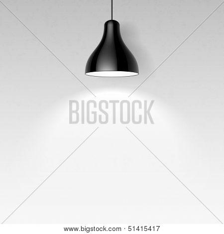 Black ceiling lamp. Vector.