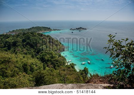 Incredible Aereal View Of Tropical Turouise Beach At Similan Island.  Yacht. Thailand. Asia.