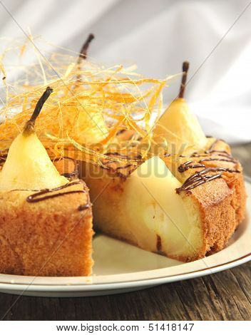 Cake With Pears With Spun Sugar Strands