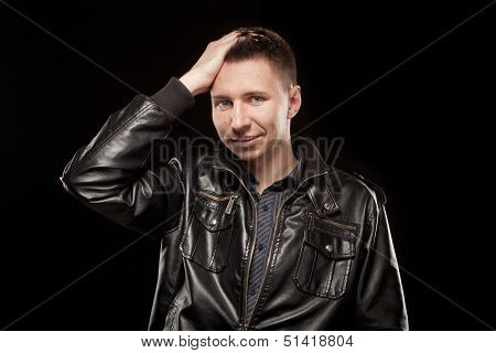 Attractive sexy man on black background