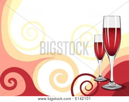 Illustration Of Glasses Of Wine