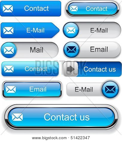 Mail blue design elements for website or app. Vector eps10.