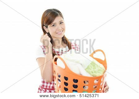 Woman Carrying Laundry Busket