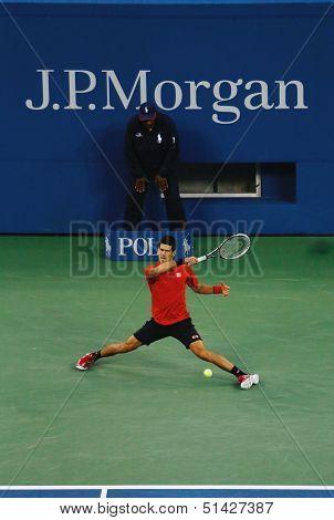 US Open 2013 finalist  Novak Djokovic during his final match against champion Rafael Nadal