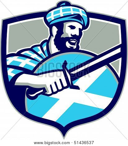 Highlander Scotsman Sword Shield Retro