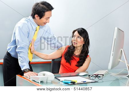 Asian Employee or secretary getting manager or business man sexual harassed or harassment and reject him poster