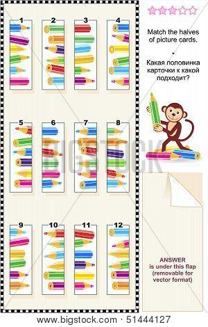 Visual puzzle - match the halves - pencils