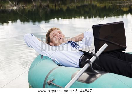 Satisfied Man Lay In Boat