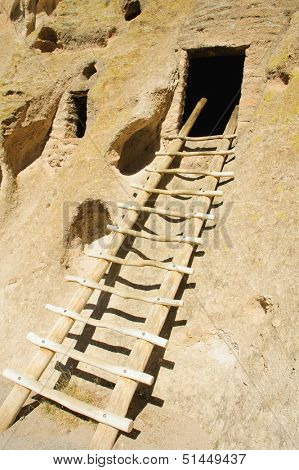 reconstructed ladder into the entrance of a Kiva or room built by the Anazasi indians (circa 1200-1400)  in the South West of the US