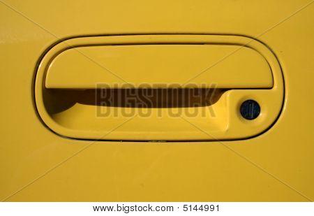Yellow Car Doorhandle