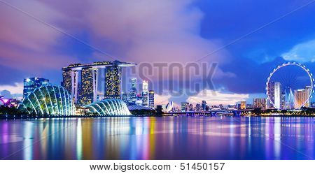 Singapore cityscape during sunset