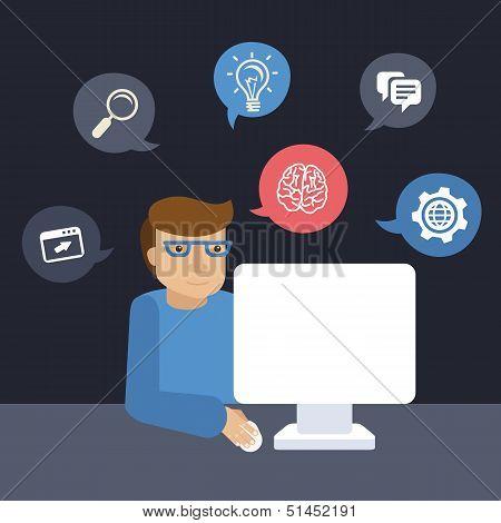 Vector Cartoon Programmer Working On His Computer