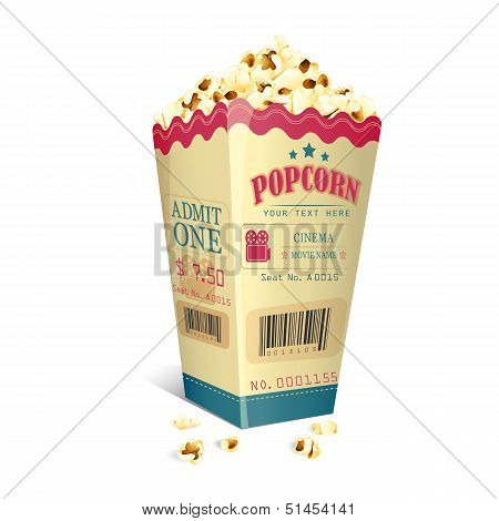 Movie Ticket printed on Popcorn box