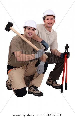 A team of tradesmen with their tools