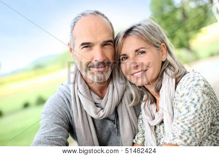 Portrait of loving senior couple