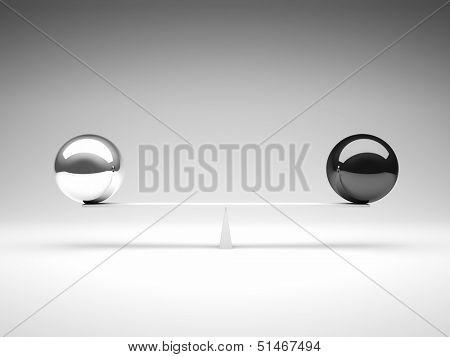 black and white balls in false bilance