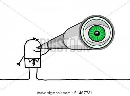 businessman & telescope