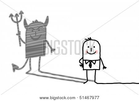 kind man with devil shadow
