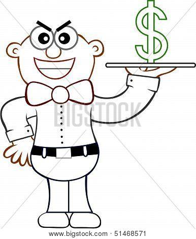 Sneaky Waiter Cartoon