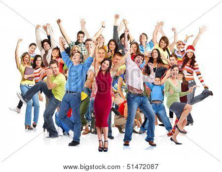 Grupo de personas felices saltando aislada sobre fondo blanco.