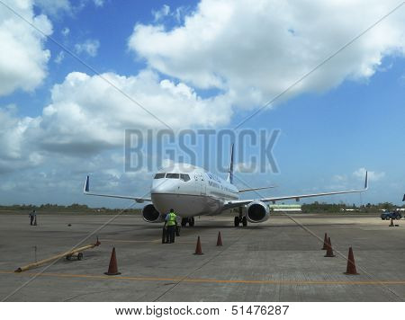 United airline plane landed at Philip S W Goldson Airport in Belize