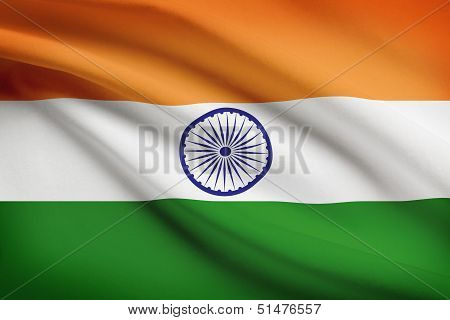 Series Of Ruffled Flags. Federal Parliamentary Republic Of India.