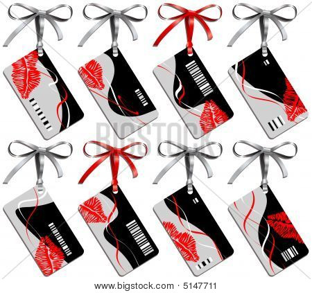 Collection From Eight Business Cards With Print Lips And Bows
