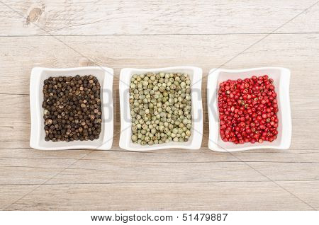 Black, Green And Red Pepper