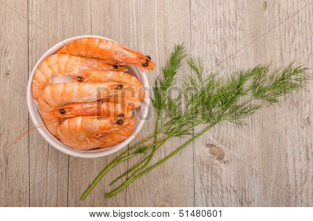 Boiled Prawns With Dill From Above