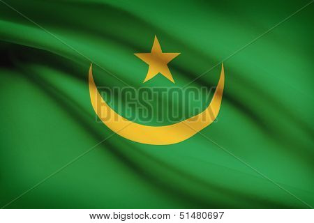 Series Of Ruffled Flags. Islamic Republic Of Mauritania.