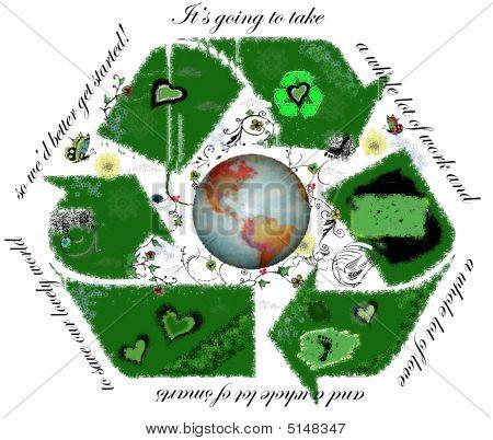 Recycle Symbol 3 Big Green Grunge Ecology Scroll Work Orig