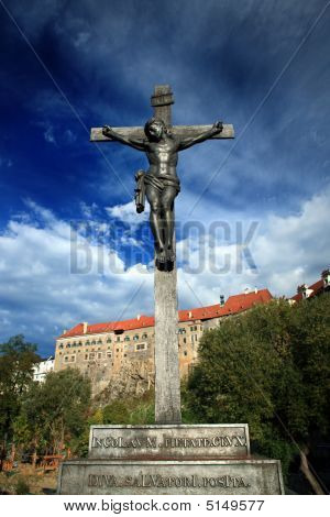 The Cross Of Jesus At Cesky Krumlov , Czech Republic