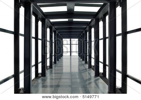Abstract Time And Space Corridor With White Background