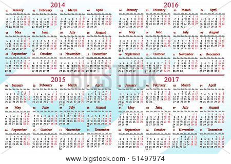 office calendar for 2014 - 2017 years