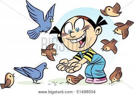 bird feeding girl