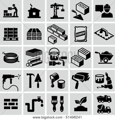 Construcción, materiales de construcción, construcción de iconos de equipo