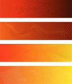 Four Distorted Lines Creating 3D Field Banners (all stroke widths are editable) poster