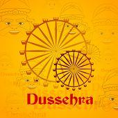 vector illustration of giant wheel in Dussehra mela with Ravana poster