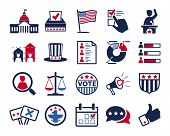 Politics, Voting and elections icons - color vector icon set poster