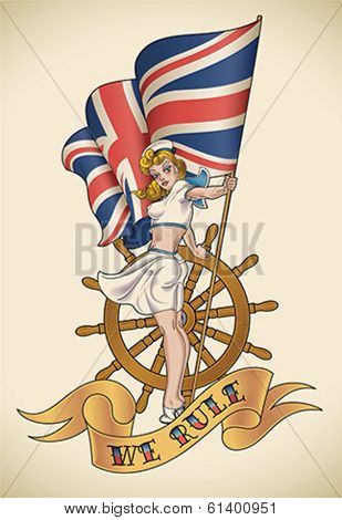 Old-school navy tattoo of a pin-up lady with the Union Jack in her hand. Editable vector illustration.